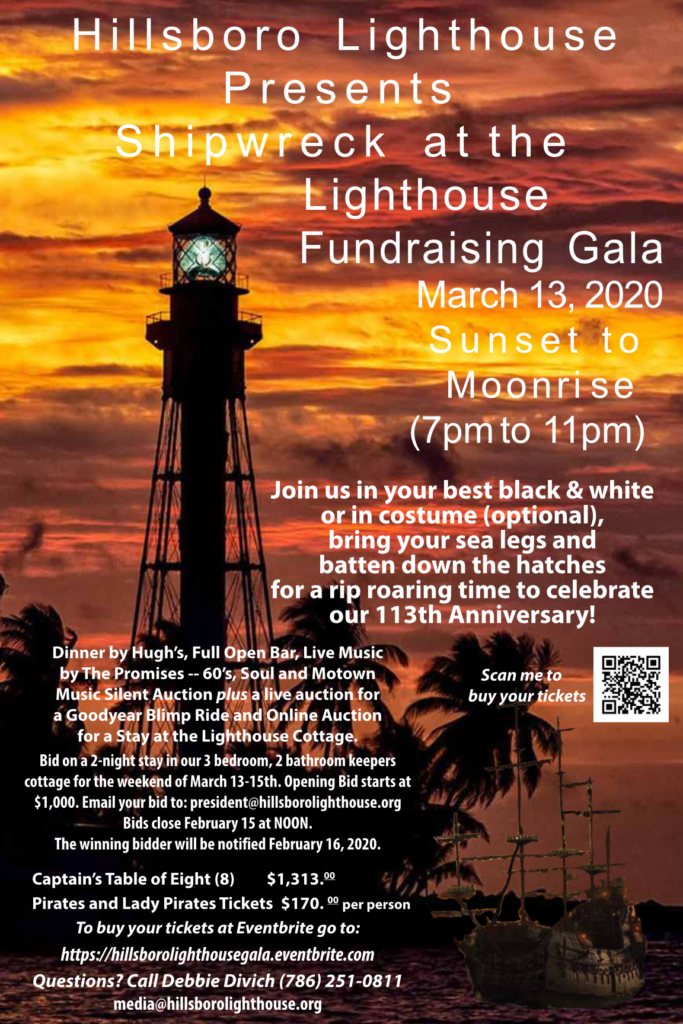 Hillsboro lighthouse, lighthouse, pompano beach, hillsboro beach, lighthouse gala, lighthouse tour, south Florida, shipwrecked at sea, live auction